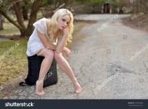 Stunning Caucasian Woman White Sundress Sitting Stock