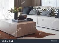 Stylish Living Room Design Grey Striped Stock Photo ...