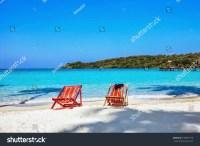 Sun Beach Chairs On Shore Near Stock Photo 106875770 ...