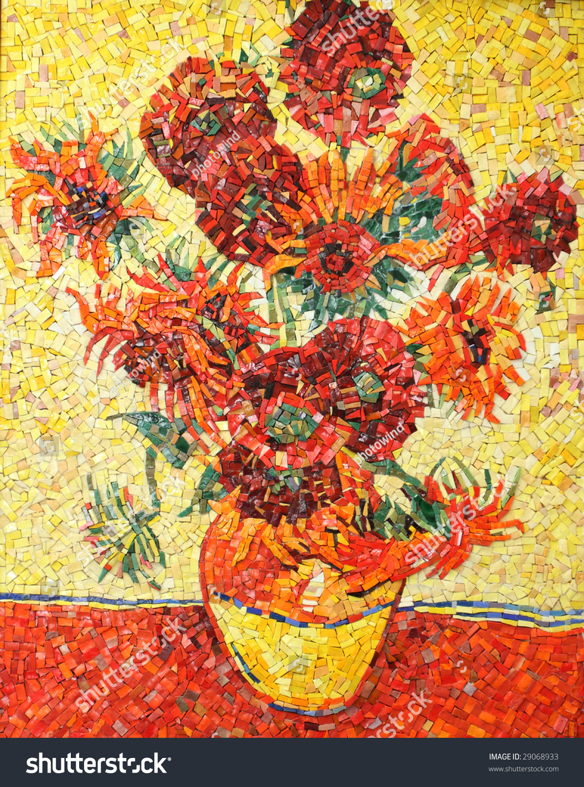 Sunflowers By Vincent Van Gogh Imitation Stock Photo