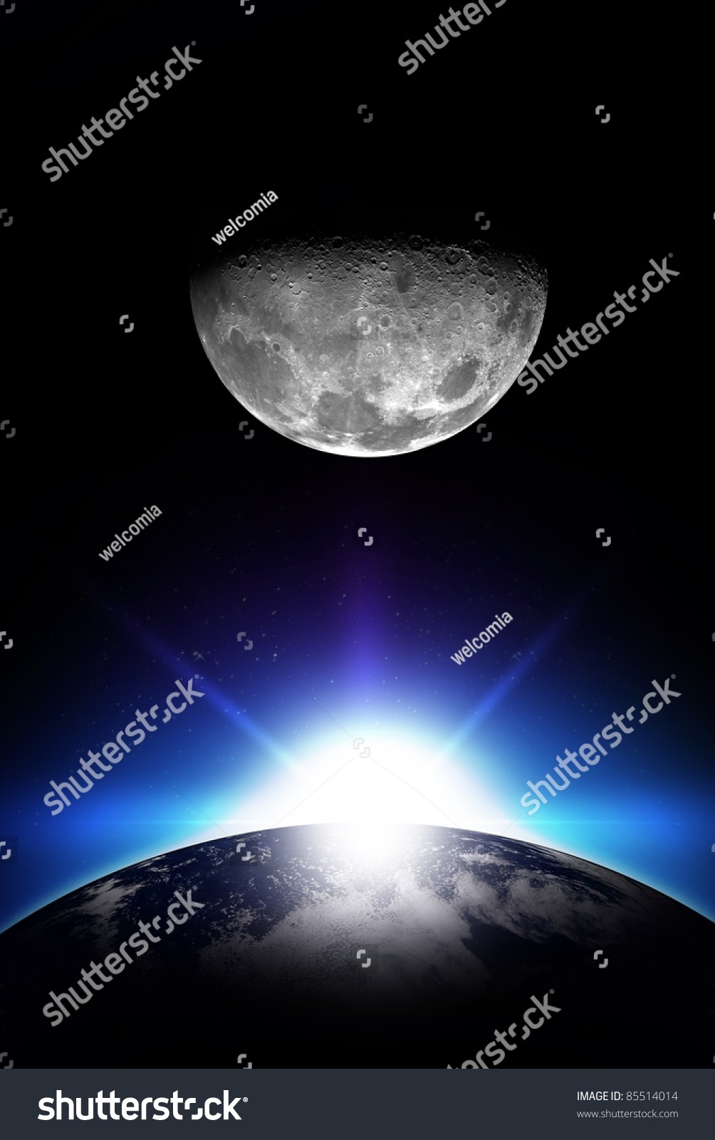 Sunrise And Moon  Vertical Space Illustration Rising Sun