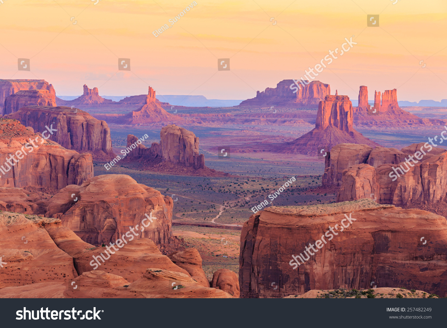 Sunrise Hunts Mesa Monument Valley Arizona Stock Photo