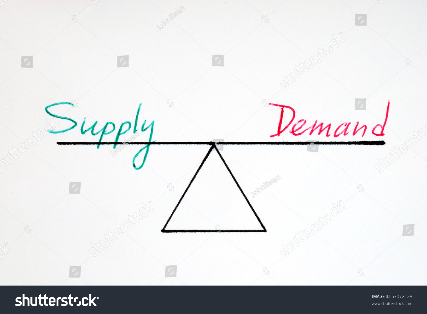 Supply And Demand At The Equilibrium State Stock Photo