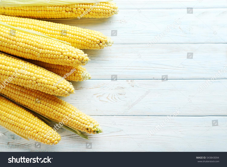 Sweet Corn On A Blue Wooden Table Stock Photo 543843094 : Shutterstock