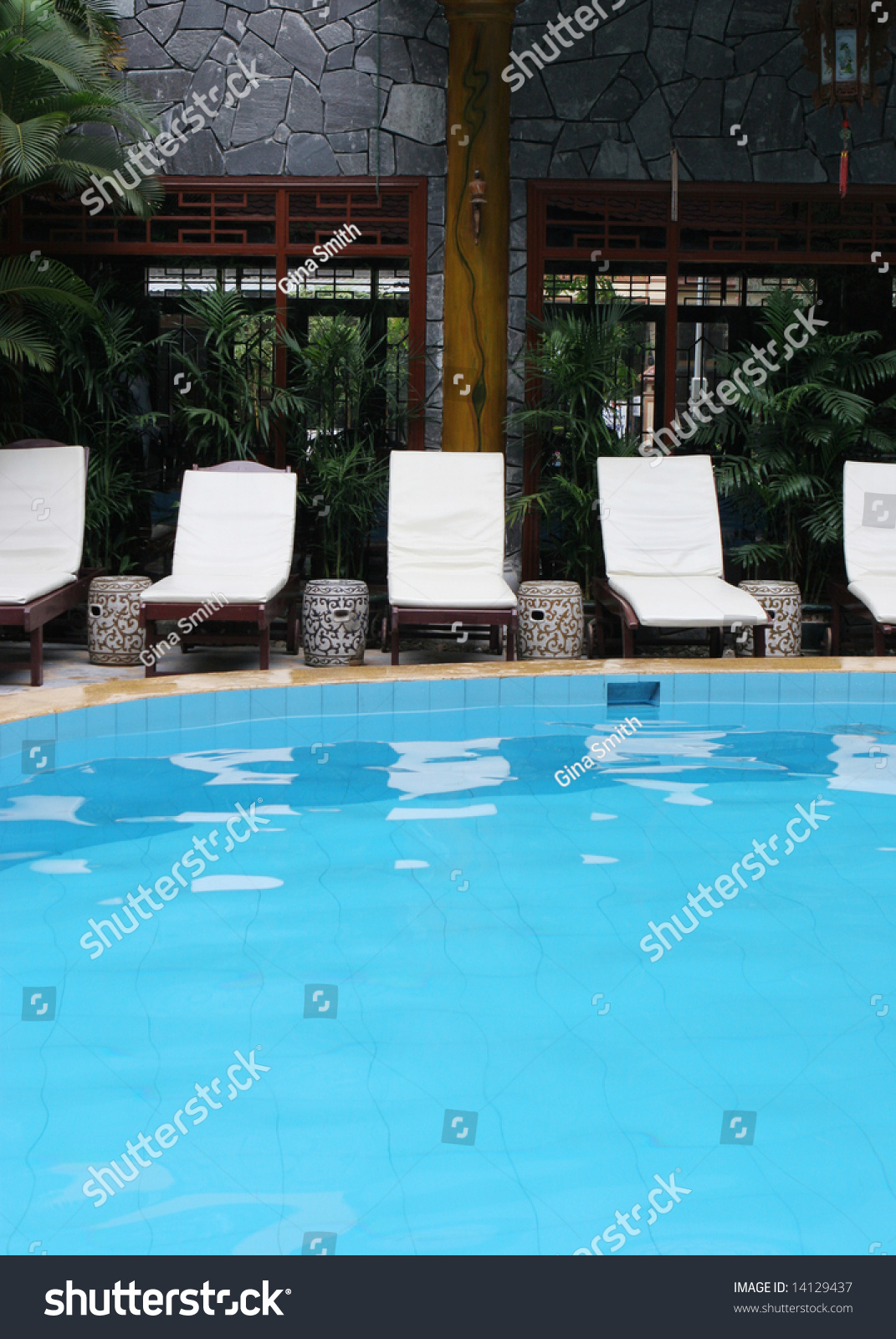 Pool Deck Chairs Swimming Pool Deck Chairs Summer Stock Photo Edit Now 14129437