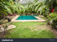 Swimming Pool Private Tropical Villa Backyard Stock Photo
