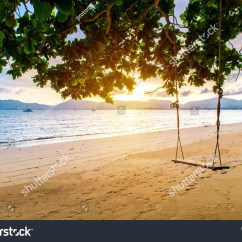 Swing Chair Thailand Bar Height Kitchen Table And Chairs Hanging Under Tree Sunset Phuket Stock Photo