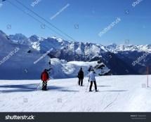 Switzerland Verbier Ski Resort Swiss Alps Stock