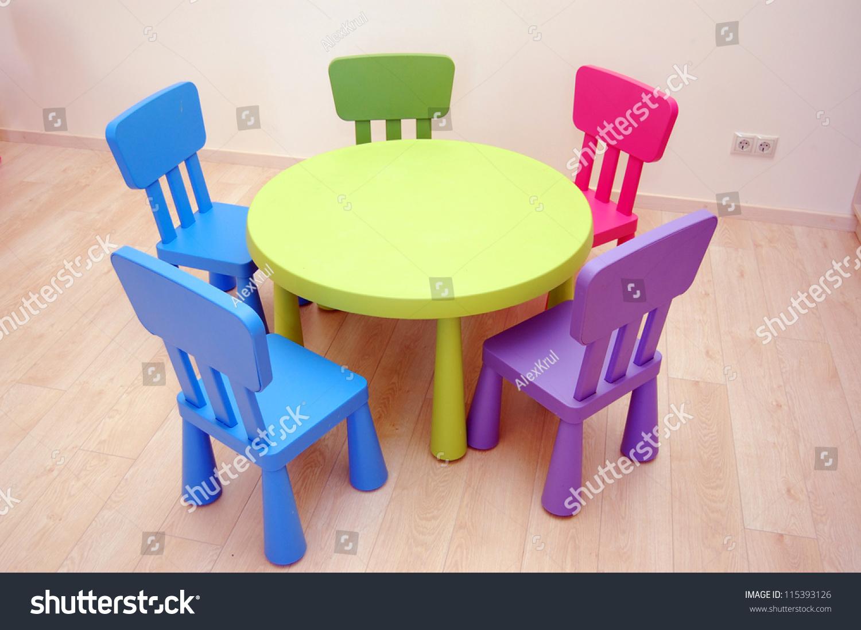 Table Five Chairs Kindergarten Preschool Classroom Stock