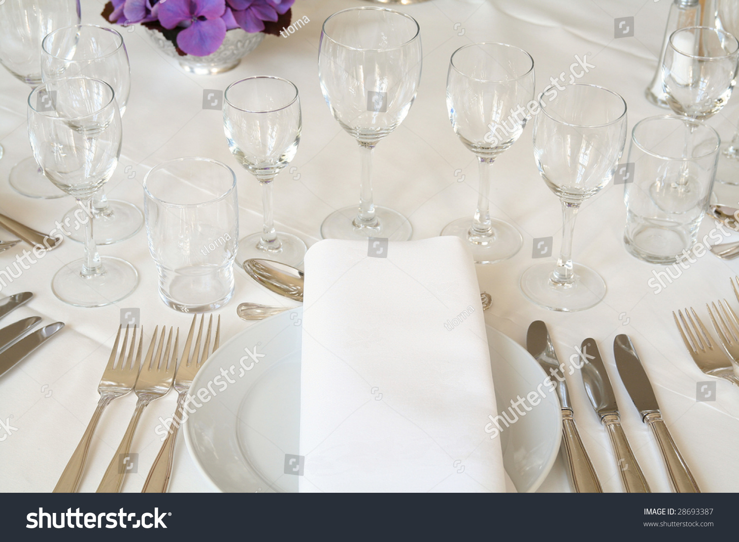 Table Setting For Fine Dining Or Party. Cutlery And Plate In Restaurant Set Up For Wedding Celebration Stock Photo 28693387 : Shutterstock
