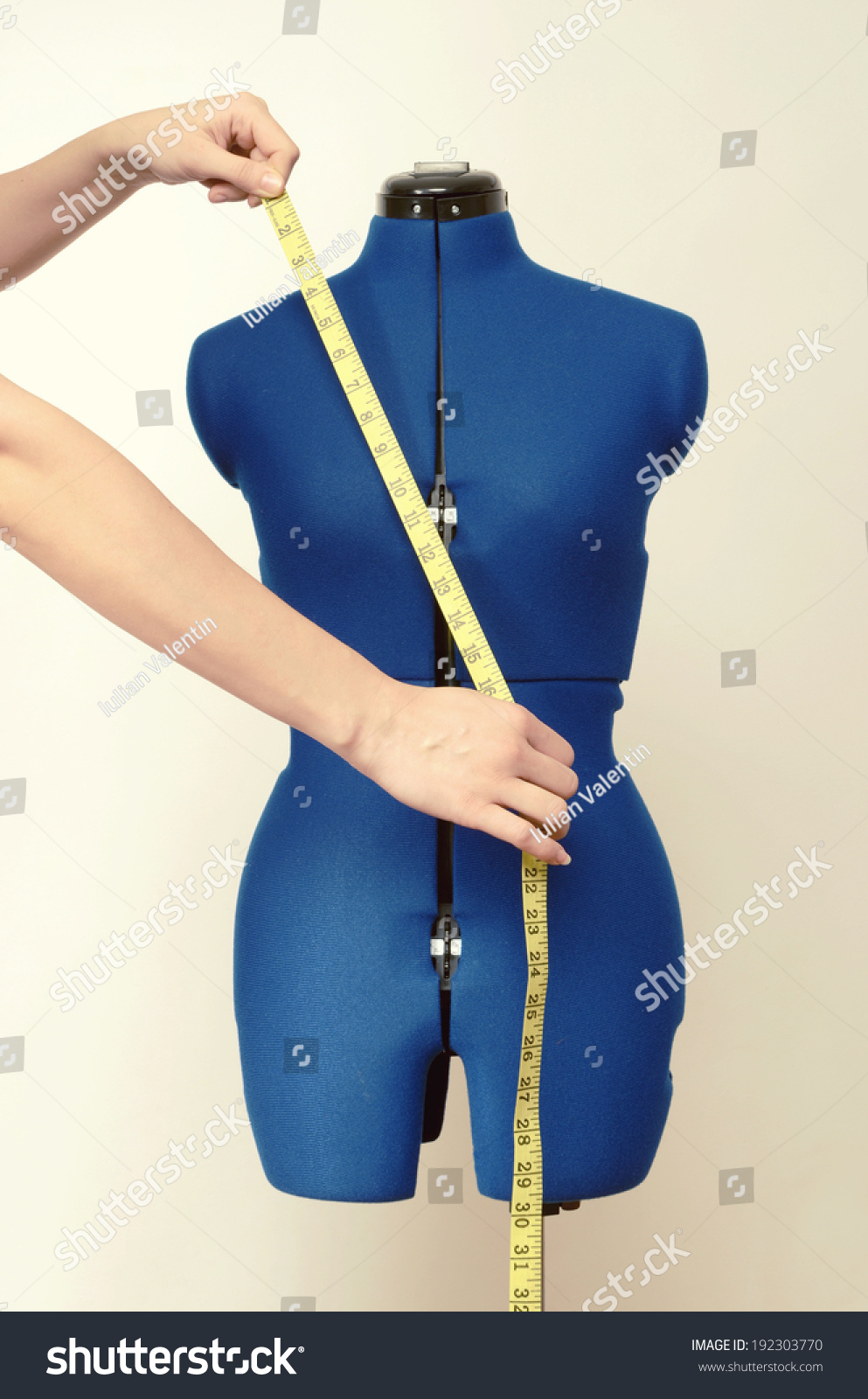 Tailor Mannequin Measuring Tape Isolated Hands Stock Photo