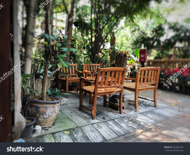 https www shutterstock com image photo teak wooden set outdoor furniture tropical 592683794