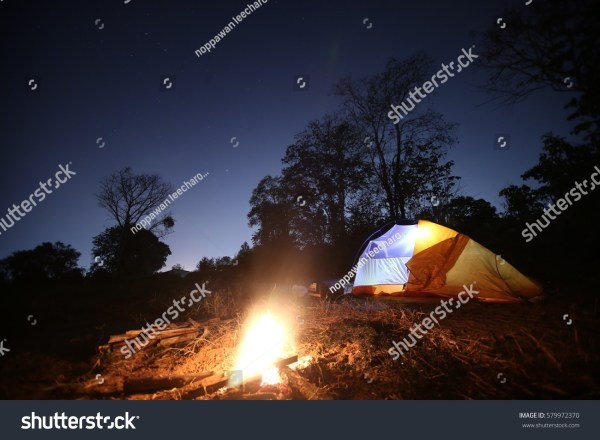 Tents Wood Fire Night Sky Stock 579972370 - Shutterstock