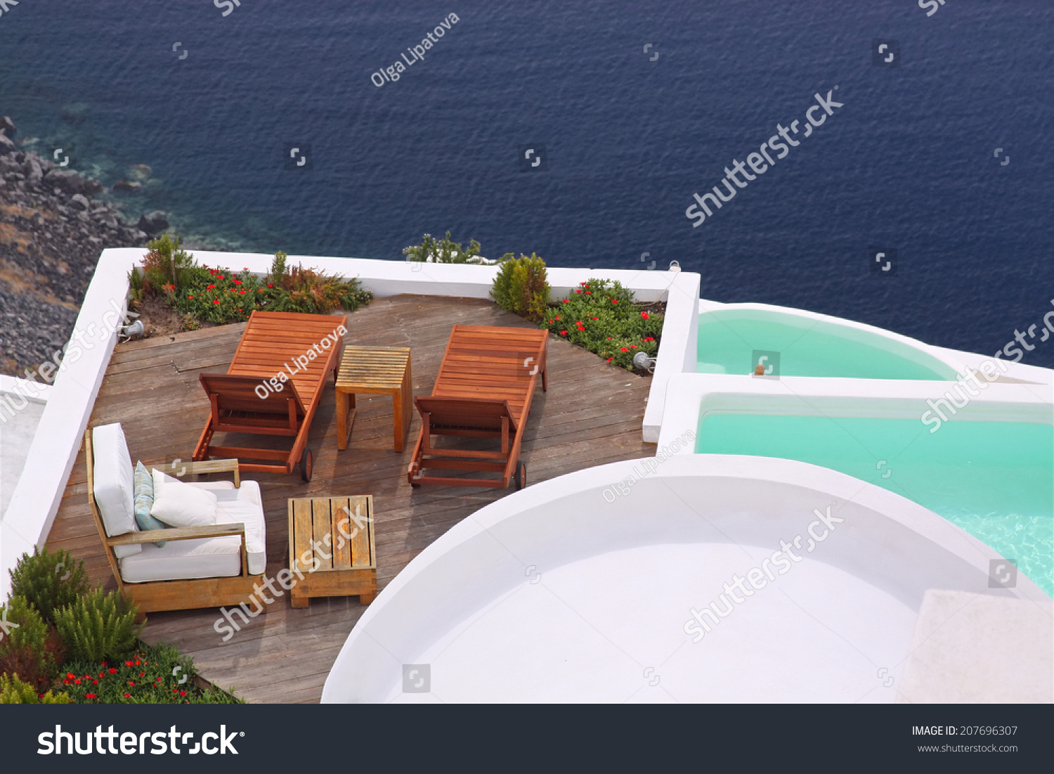 Pool Deck Chairs Terrace Deck Chairs Water Pool View Stock Photo Edit Now