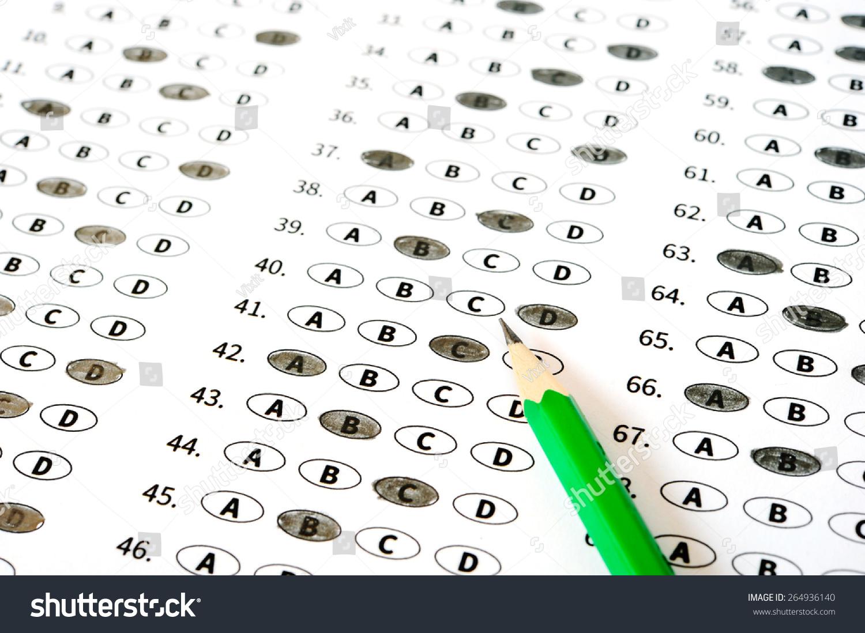 Test Score Sheet Answers Stock Photo