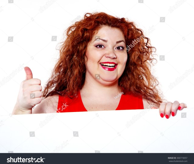 The Beautiful Fat Big Sensuality Woman With Red Lipstick And With Red T Shirts