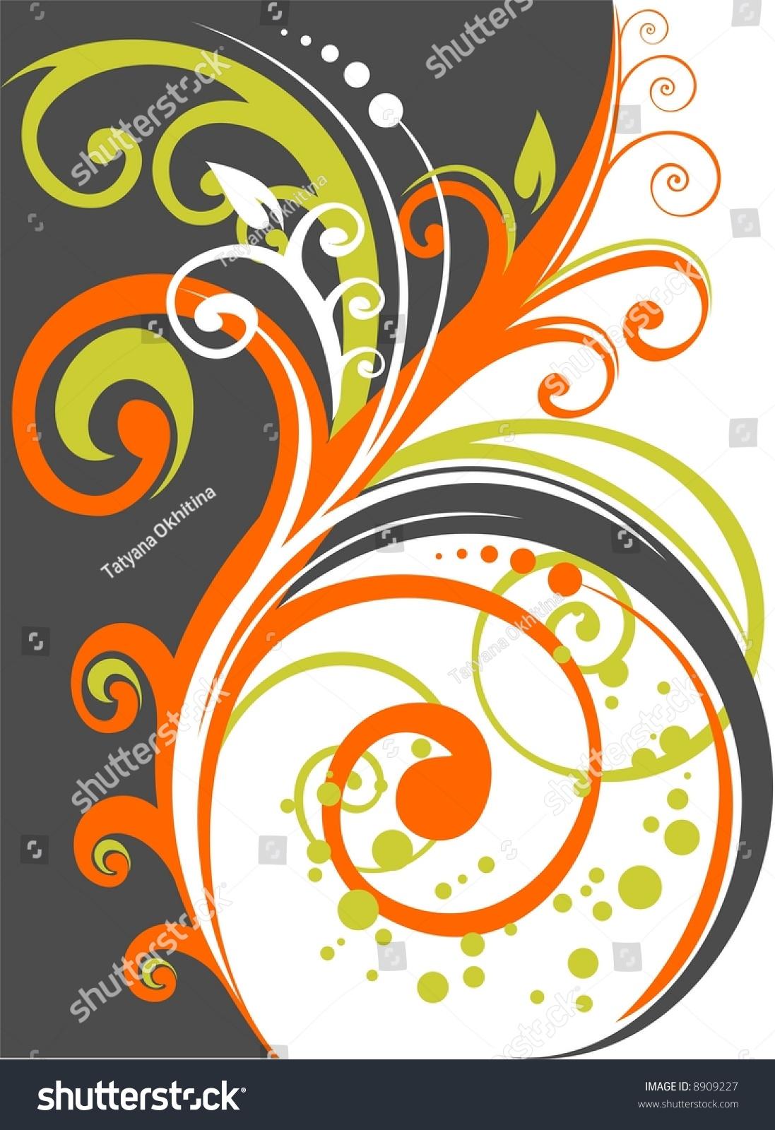The Decorative Stylized Vegetative Pattern On A White Background. Stock Photo 8909227 : Shutterstock