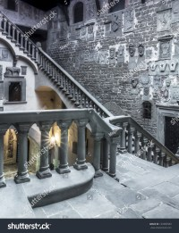 Interior Great Stairs Medieval Castle Italy Stock Photo ...