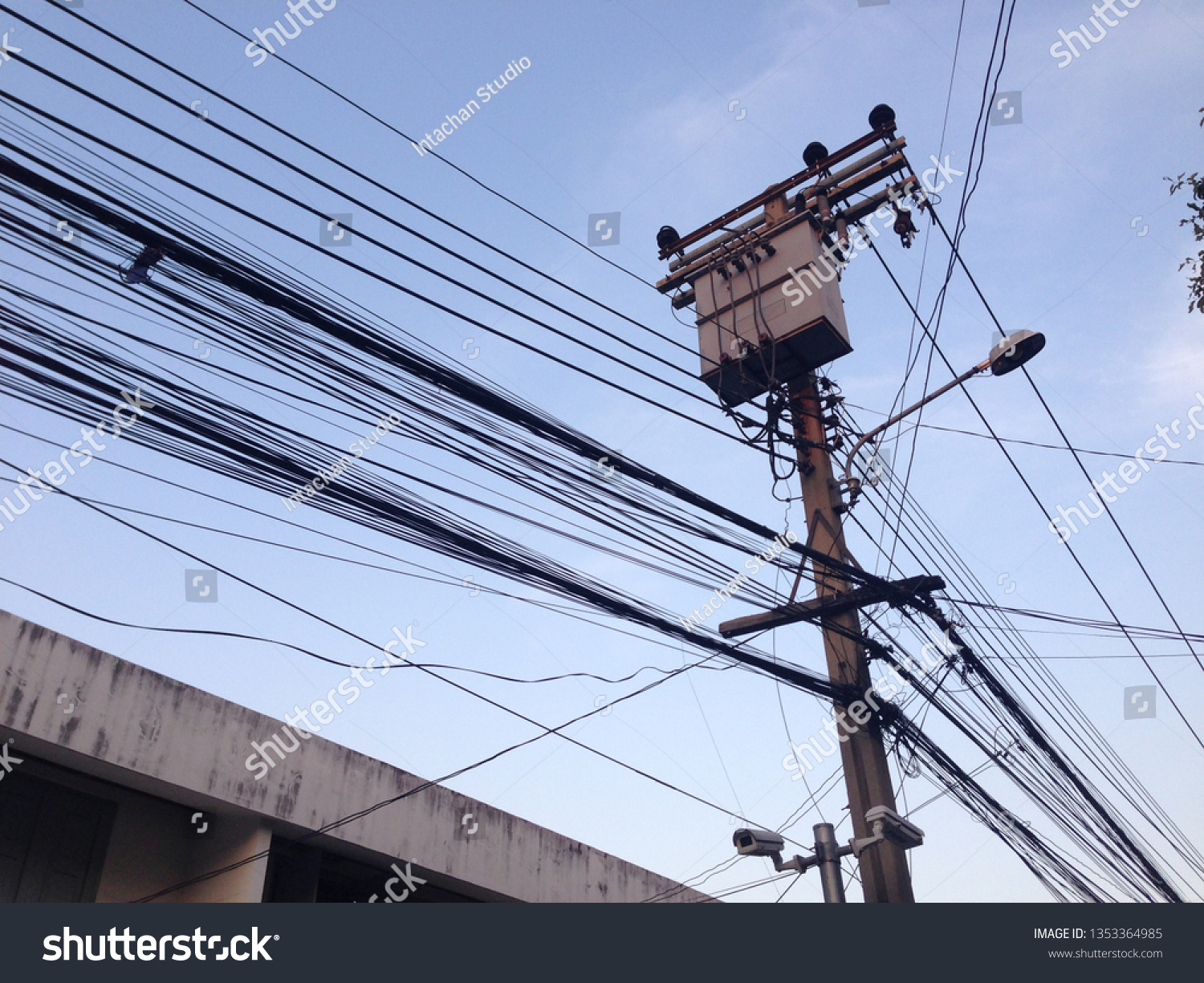 hight resolution of the jumble of messy overhead telephone cables lines commonly seen in bangkok thailand