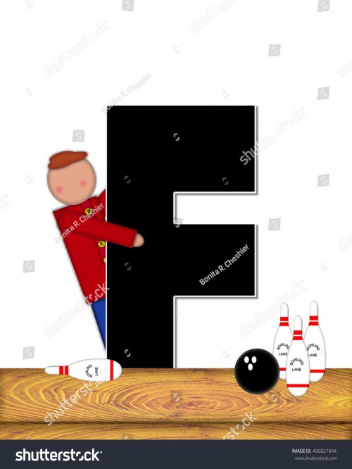 small resolution of the letter f in the alphabet set children bowling lane is decorated