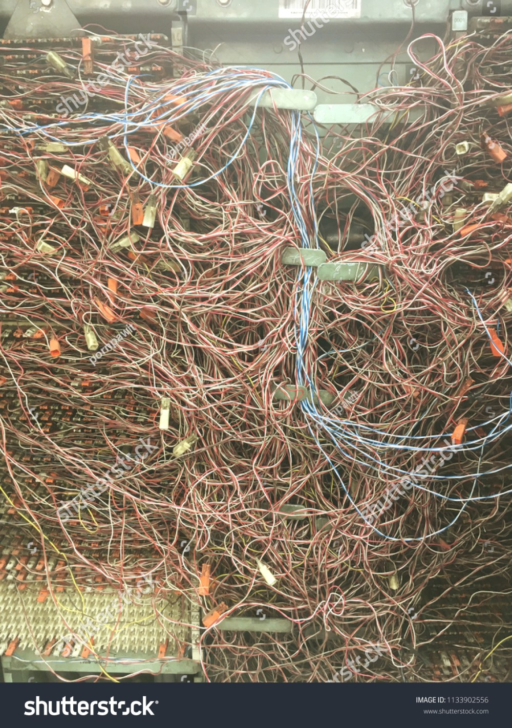 medium resolution of the messy telephone wire in switchboard panel