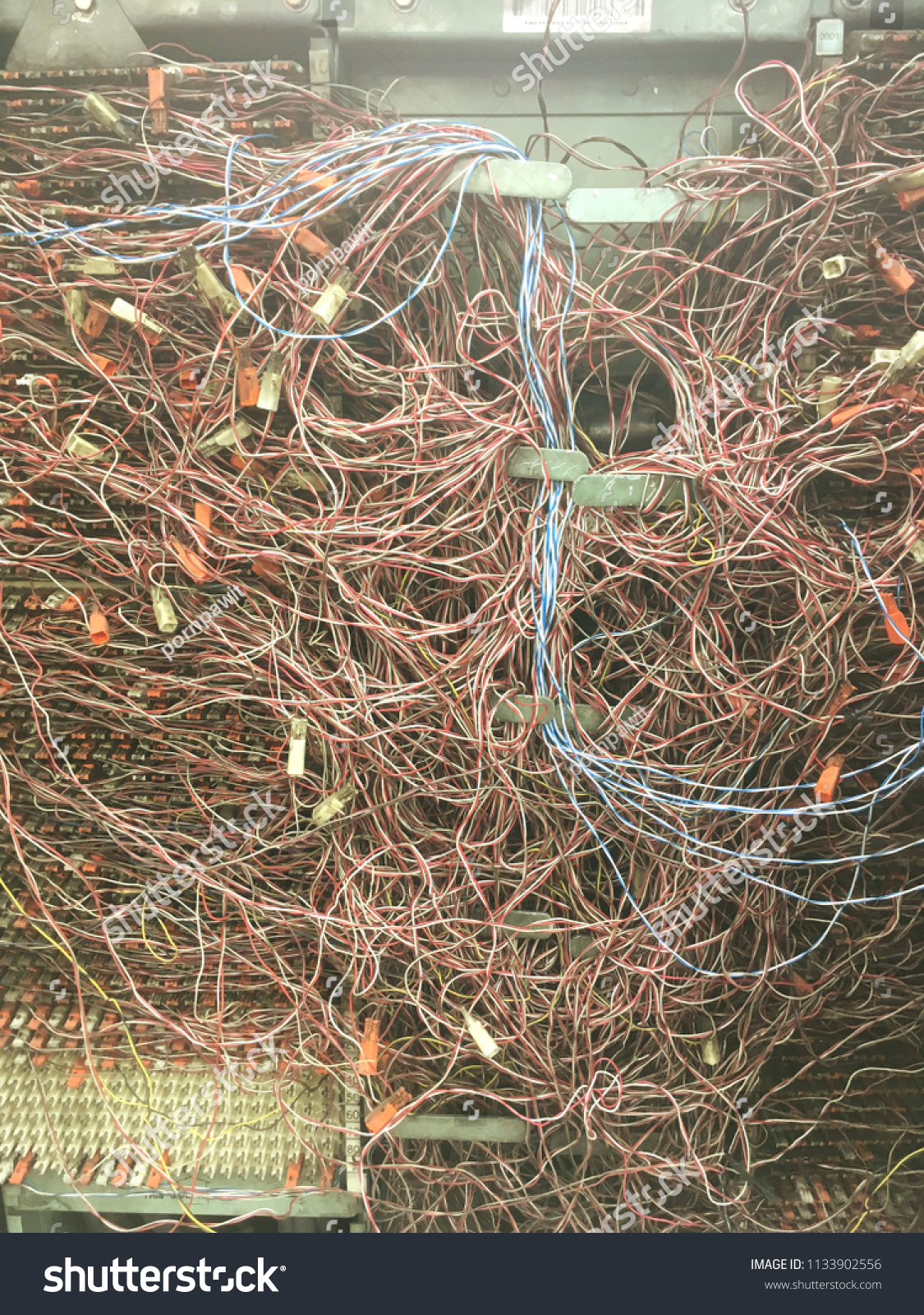 hight resolution of the messy telephone wire in switchboard panel