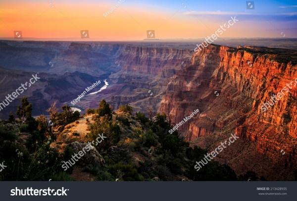 River Grand Canyon Sunset National Park Arizona Stock