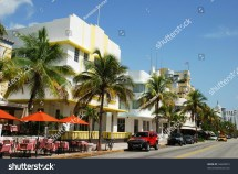 View Of Famous Ocean Drive Street In Miami South Beach