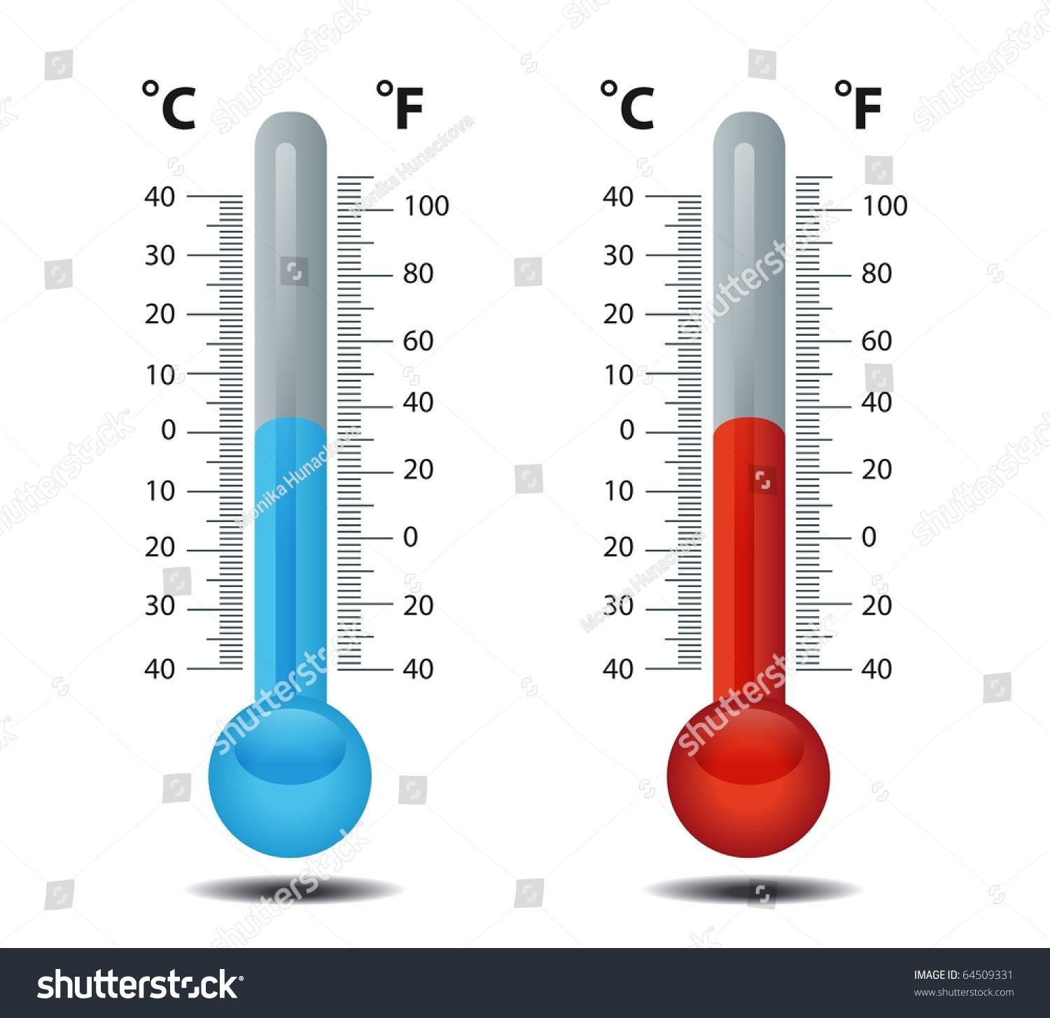 Thermometer Celsius Fahrenheit Raster Stock Illustration