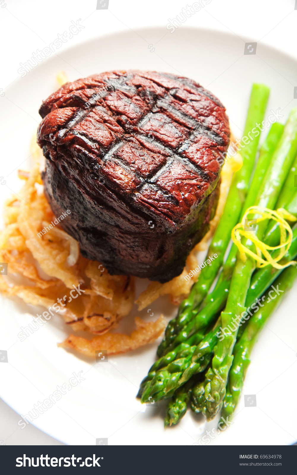 Thick Filet Mignon Served With Crispy Onions And Asparagus Stock Photo 69634978 : Shutterstock