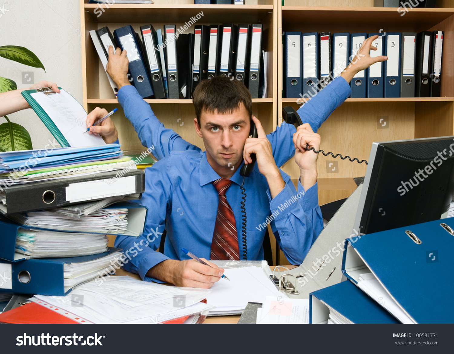 This Is A Very Active And The Executive Office Worker. He Has Very Hard Work. Stock Photo 100531771 : Shutterstock