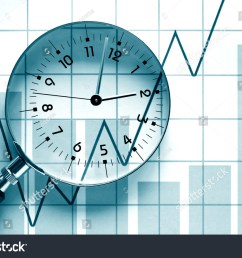 clock face inside magnifying glass on background with business chart [ 1500 x 1101 Pixel ]
