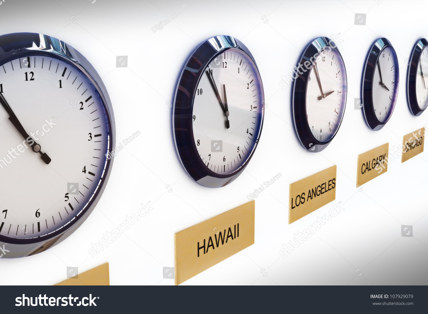 Timezone Clocks Showing Different Times Of World Locations Stock Photo 107929079 : Shutterstock