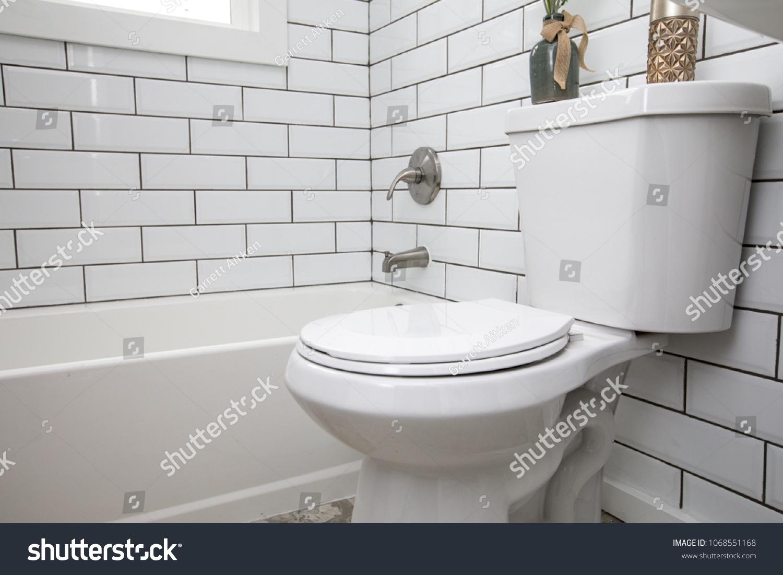 https www shutterstock com image photo toilet shot detail white subway tile 1068551168