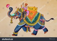 Traditional Indian Rajasthani Wall Painting Elephant Stock ...