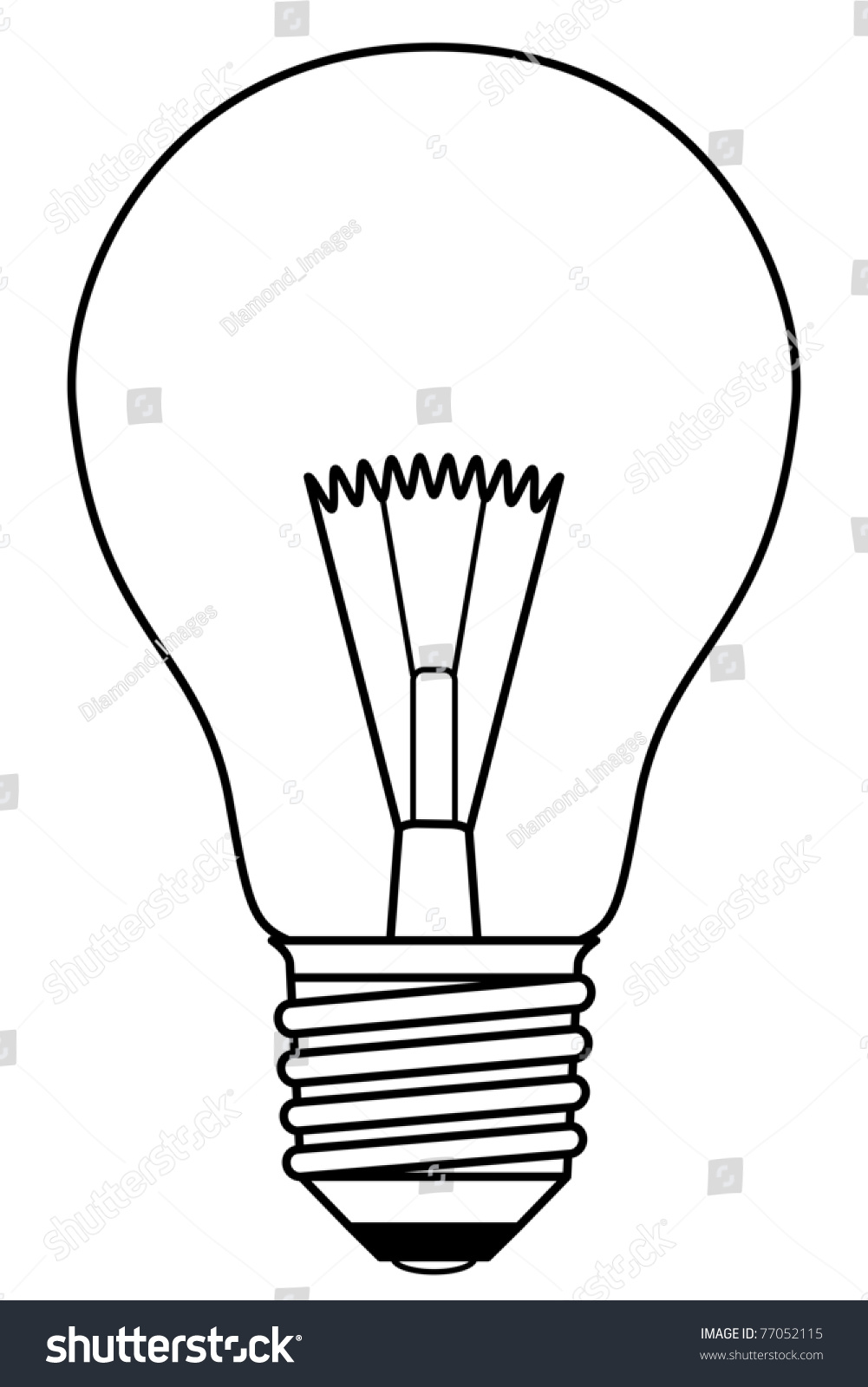 hight resolution of traditional inefficient incandescent light bulb in a black and white design