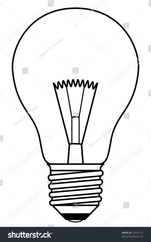 small resolution of traditional inefficient incandescent light bulb in a black and white design