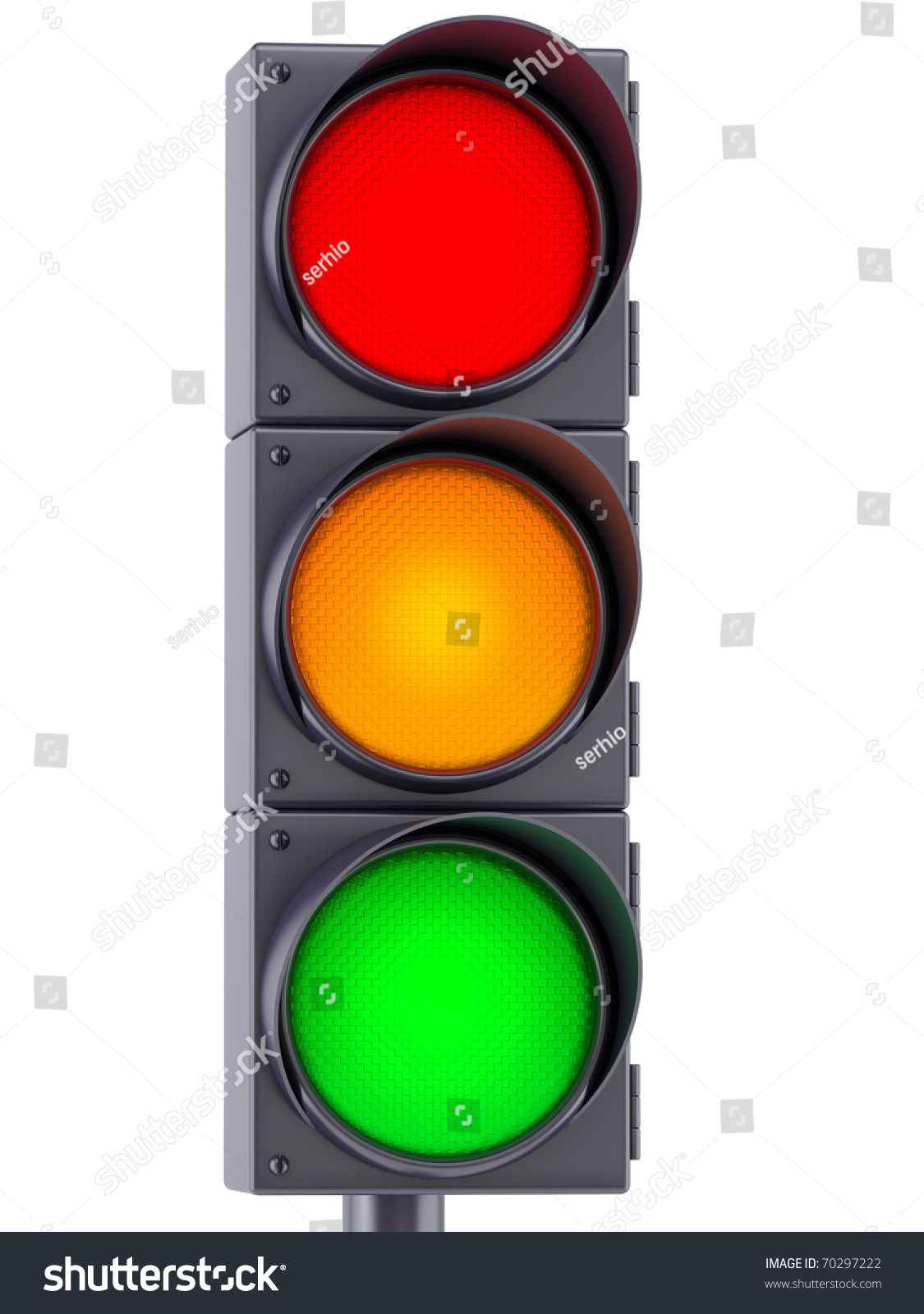 Traffic Lights With Red Yellow And Green Lights On White