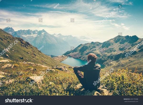 traveler man relaxing meditation