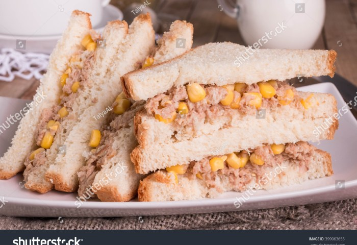 Tuna Sweetcorn Sandwich White Bread Healthy Stock Photo Edit Now