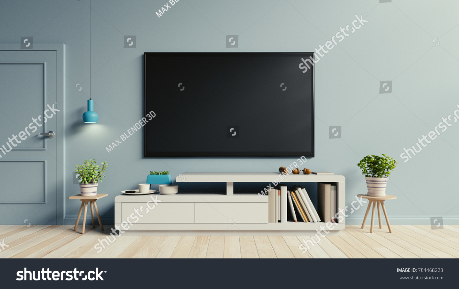 modern living room cabinets sectional sofa tv on cabinet stock illustration royalty free the in have plants and book blue wall background