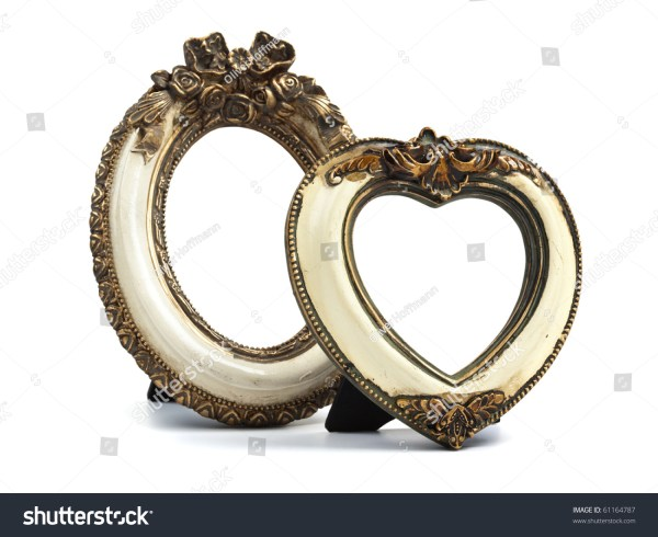 Two Baroque Style Desktop Frames. Oval Shape And