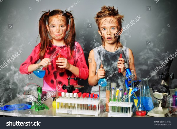 Two Children Making Science Experiments Education Stock