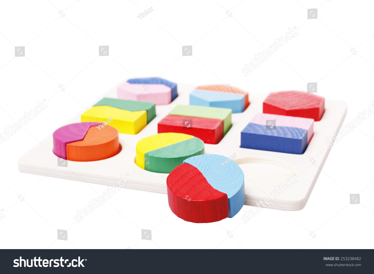 Two Half Moon Shape Puzzles Fit Round Hole Stock Photo