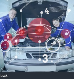 two happy mechanics consulting futuristic interface with car diagram and statistics with open hood [ 1500 x 1101 Pixel ]