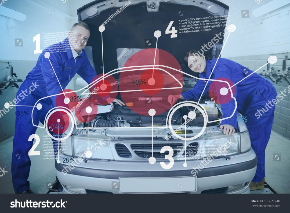medium resolution of two happy mechanics consulting futuristic interface with car diagram and statistics with open hood