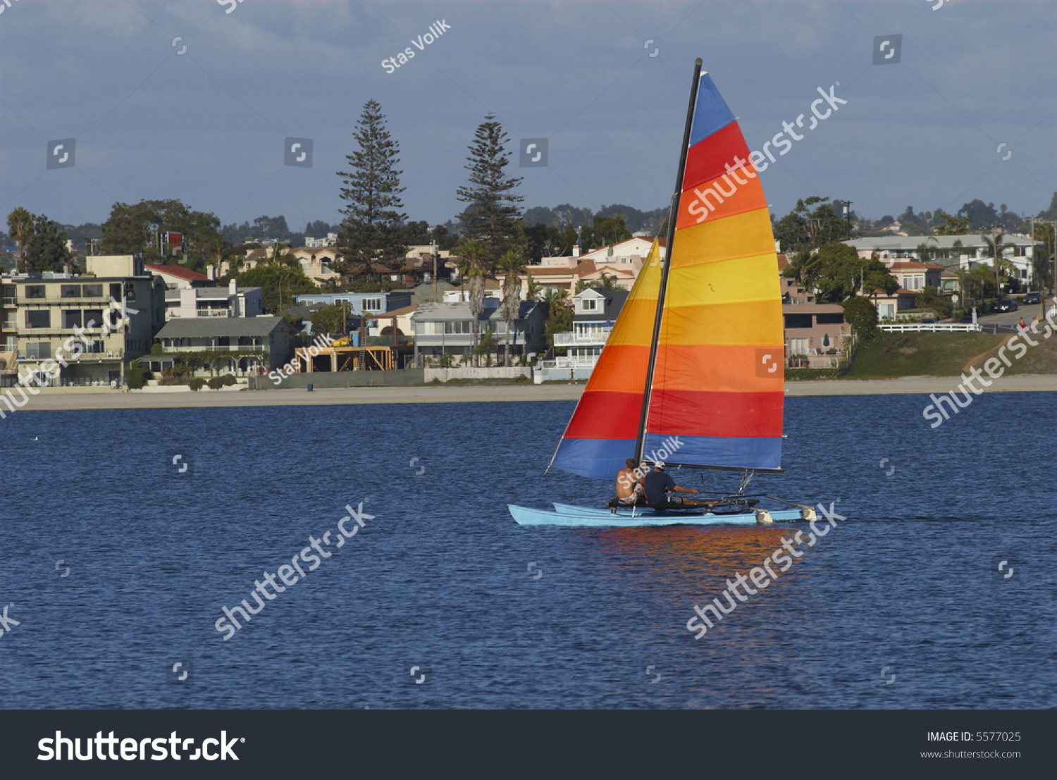 Two Men Are Sailing A Yacht With Colorful Sail In Mission Bay. San Diego. California. Stock Photo 5577025 : Shutterstock