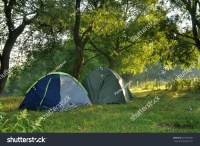 Two Tents In The Woods In The Morning. Stock Photo ...
