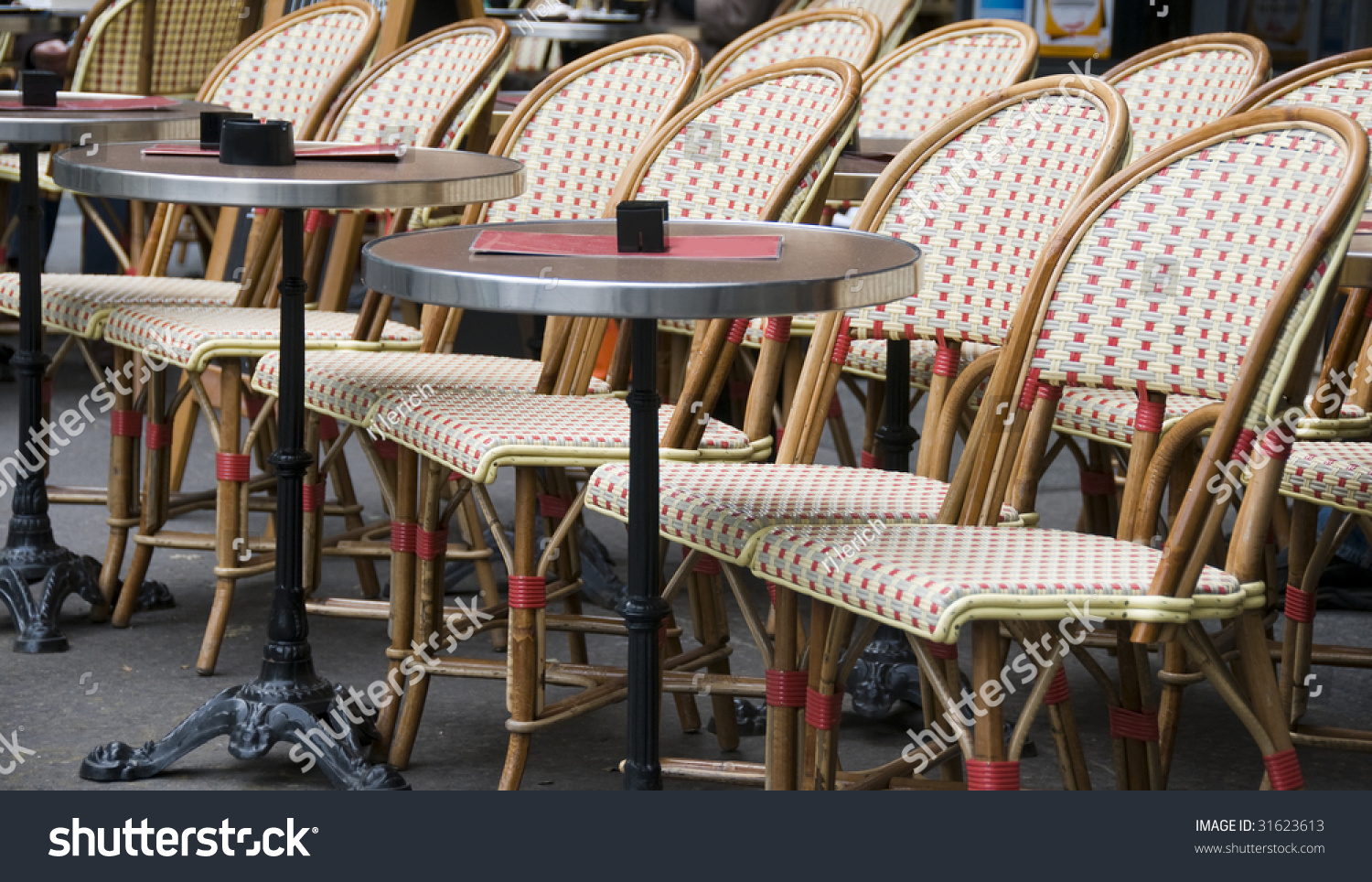 paris bistro chairs outdoor amazon bungee chair typical generic cafe setting stock photo