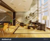 Ultra Modern Hi-Tech Design Interior With High Wall Stock ...